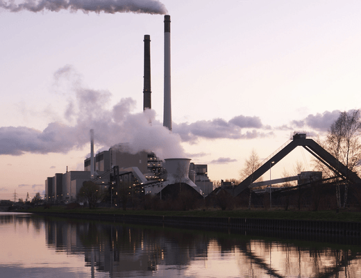 Carbon emissions from a coal plant in Germany
