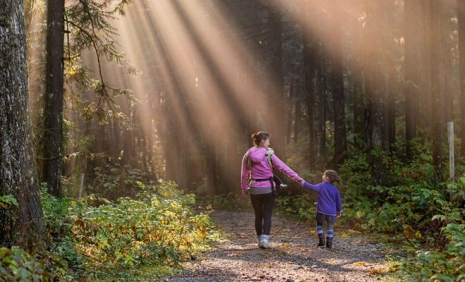Woman and child walking in forest