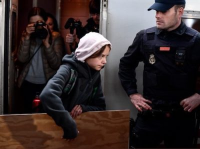 Thunberg arrives Madrid COP 25 bossito:Twitter