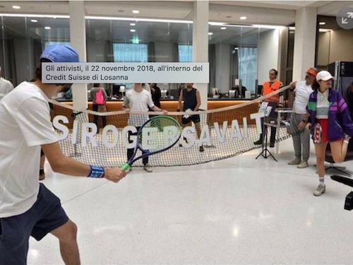 credit suisse Federer protest