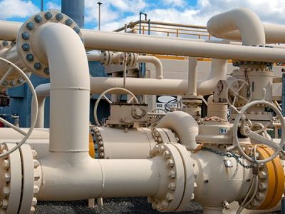 Pipes at gas compressor station